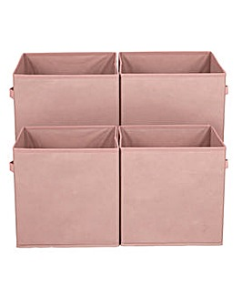 Pack of 4 Pink Canvas Boxes