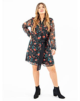 Koko Tie Front Floral Shirt Dress