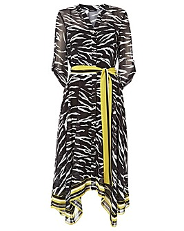 Roman Zebra Print Chiffon Shirt Midi ...
