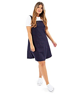 Lovedrobe GB Blue Check Pinafore Dress