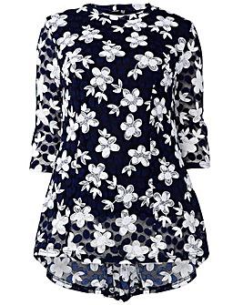 Izabel London Curve Floral Lace Top