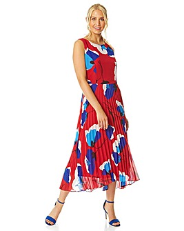 Roman Floral Pleated Fit and Flare Mi...
