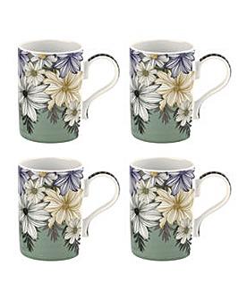 Portmeirion Atrium Floral 12oz Mugs x 4