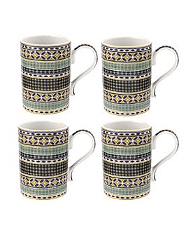 Portmeirion Atrium 12oz Geo Mugs x 4