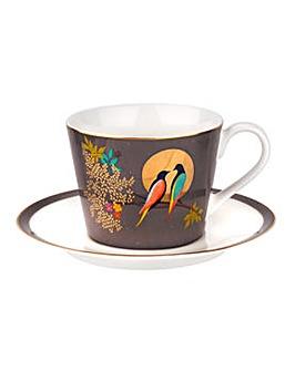 Sara Miller Tea Cup & Saucer Dark Grey