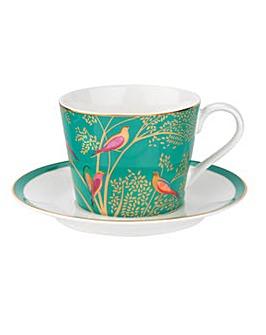 Sara Miller Tea Cup & Saucer Green