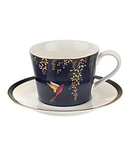 Sara Miller Tea Cup & Saucer Navy