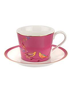 Sara Miller Tea Cup & Saucer Pink