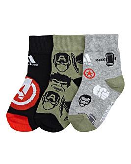 adidas Marvel Boys Pack of 3 Socks