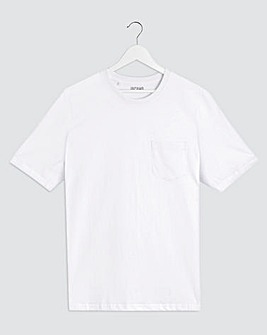 White Crew Neck Pocket T-Shirt Long
