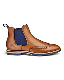 Brogue Chelsea Boots Wide Fit