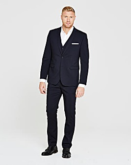 Flintoff By Jacamo Slim Navy Stretch Suit Trousers 31in