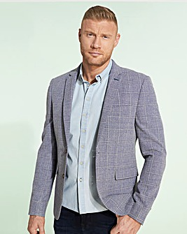 Flintoff by Jacamo Blue Check Slim Fit Linen Blazer