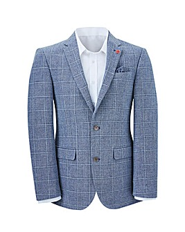 Jacamo Blue Check Slim Fit Linen Blazer