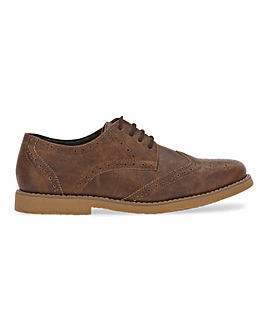 Adley Casual Leather Look Shoe Ex Wide