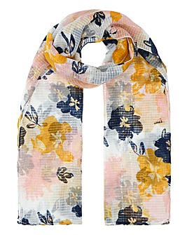 Lightweight Abstract Bloom Scarf With Sequins