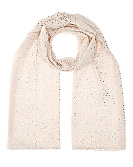 Lightweight Cream Foil Spot Scarf