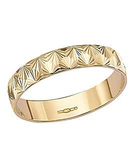 9 Carat Gold Diamond Cut Wedding Band