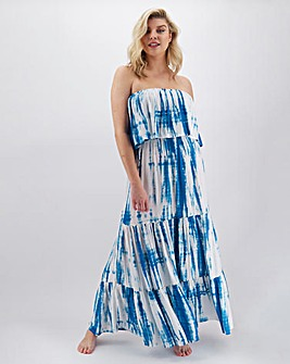 Bandeau Tiered Tie Dye Maxi Dress