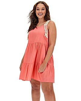 Macrame Strap Tiered Beach Dress