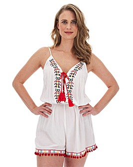 Embroidered Beach Playsuit