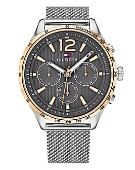 Tommy Hilfiger Mens Gavin Silver Mesh and Rose Gold Watch