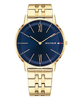 Tommy Hilfiger Mens Cooper Gold and Blue Bracelet Watch