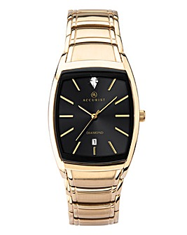 Accurist Mens Rose Gold Rectange Face Watch