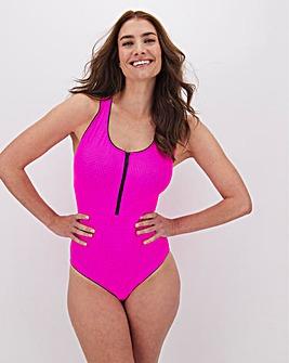 Textured Zip Front Cross Back Swimsuit