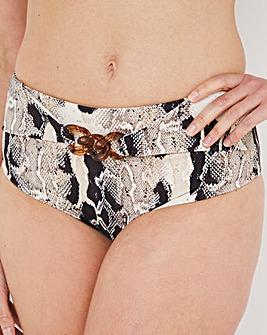 High Waist Bikini Brief With Chain Detail