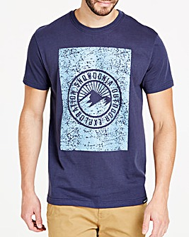 Snowdonia Navy Distressed Logo Tee Long