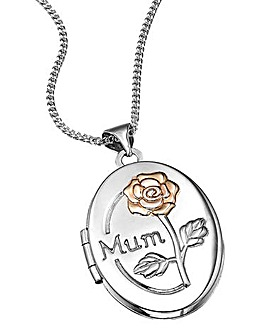 Silver & Rose Gold-Plated Locket Pendant