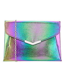 Rainbow Clutch With Metal Trim