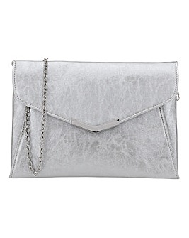 Silver Anna Clutch With Metal Trims
