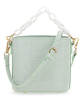 Green Croc Bucket Bag With Resin Chain