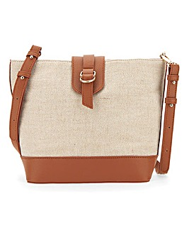Canvas And Tan Crossbody Bag