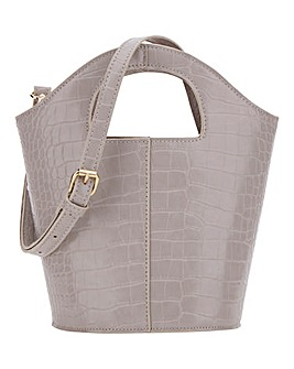 Cutout Handle Grey Croc Bucket Bag