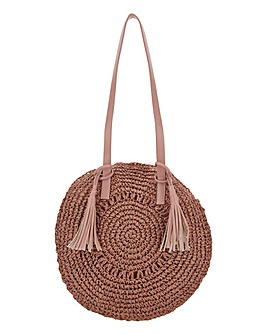 Pink Circle Straw Tassel Beach Bag