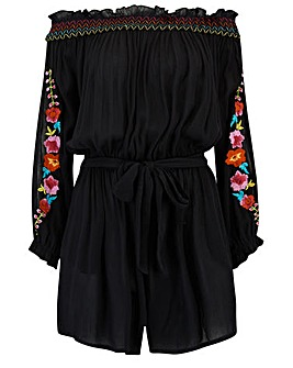 Pour Moi Embroidered Bardot Playsuit
