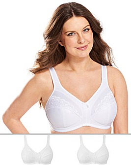 2Pack Sally Minimiser White Bras