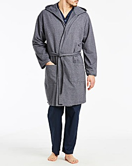 Navy Hooded Loopback Dressing Gown