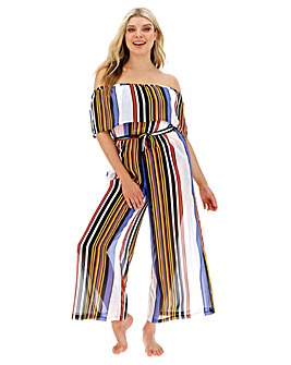 Joanna Hope Sheer Bardot Beach Jumpsuit