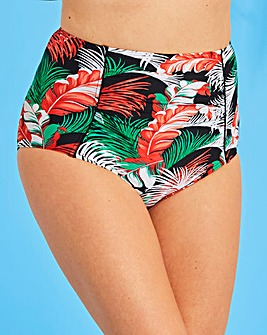 Palm Print High Waist Bikini Brief
