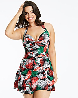 Palm Print Padded Halterneck Swimdress
