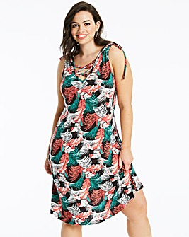 Tropical Print Beach Dress