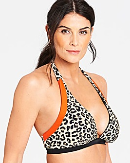 Animal Print Halterneck Bikini Top