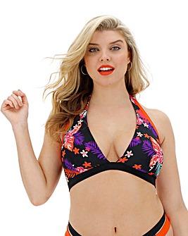 Tropical Print Halterneck Bikini Top