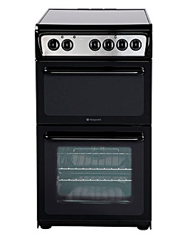 Hotpoint 50cm Ceramic Twin Cooker Black