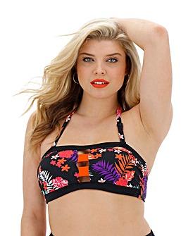 Tropical Print Bandeau Bikini Top