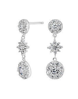 Simply Silver Pave Triple Disc Earring